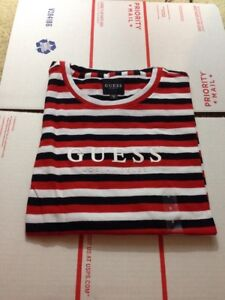 3b925164471 NEW With Defect Guess Los Angeles Tilden Red White Black Stripe T ...