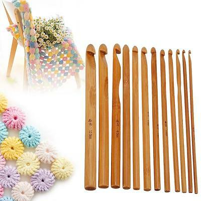 FLAT EASY TO HOLD CARBONIZED BAMBOO SOFT HANDLE CROCHET HOOK SIZES-0.5--2.75MMM