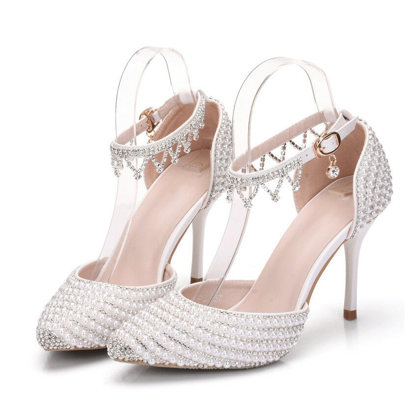 Women's Rhinestones Beads Crystal Stilettos Ankle shoes High Heels Wedding shoes