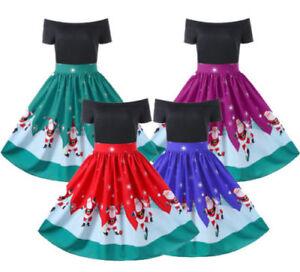 Women-039-s-off-Shoulder-Plus-Size-Christmas-Printed-Santa-Evening-Party-Dress-M-2XL