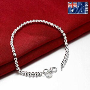 925-Sterling-Silver-Filled-Women-039-s-4MM-Classic-Ball-Beads-Charm-Chain-Bracelet