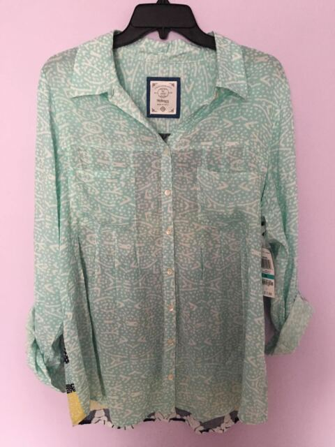 01f2db84 Style & Co. Plus Size Top 0x Printed Button Blouse Distressed Dot ...