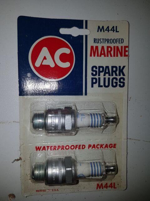 2 AC Marine Spark Plugs M44L Rustproofed Genuine Rare