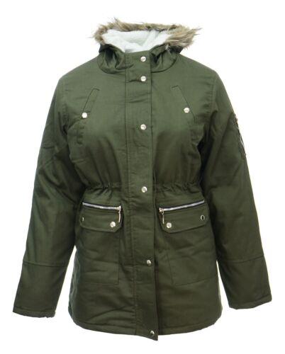 Womens Size 18 20 Khaki Parker Coat Faux Fur Trim Long Jacket Parka *LICK*