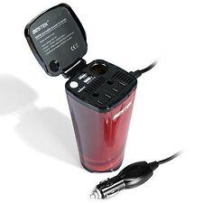 BESTEK 200W Car Cup Power Inverter Dual USB Ports 110V AC Outlets Mobile Charger