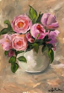A4 Print of Original oil painting floral art flowers pink roses vintage style