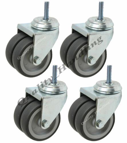 "4-75mm 3/"" twin wheel rubber bolt hole swivel castors bolt fitting set of 4"