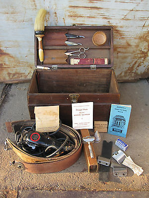 ANTIQUE BARBER TOOLS AMERICAN FOLK ART BOX RAZORS STROPS CLIPPER BLONDE CLIPPERS