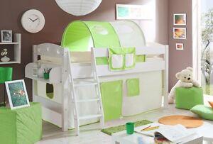 Lit-mezzanine-KENNY-Pin-teinte-blanc-tissus-Beige-Vert
