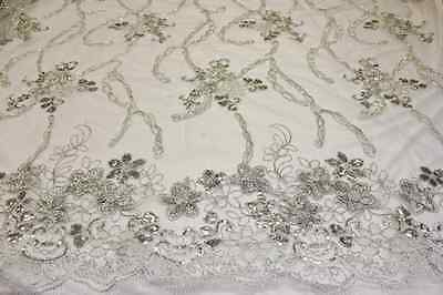 fancy embroidery and sequin flower design with chain lace fabric, 2 side borders
