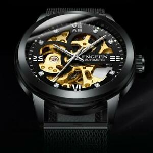 Skeleton-Automatic-Mechanical-Watch-Men-039-s-Stainless-Steel-Band-Wristwatch-Men