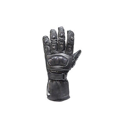 MOTORCYCLE BIKER LEATHER RACING GLOVES HARD KNUCKLE PROTECTOR GAUNTLET CUFF