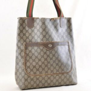 ec48e02a2d7 GUCCI Sherry Line GG Canvas Tote Bag Brown PVC Leather Auth 4651