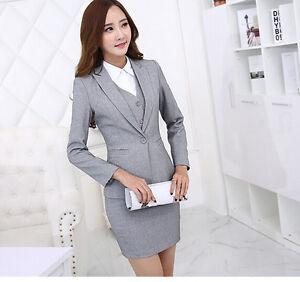 Elegante Tailleur completo donna grigio perla giacca manica lunga gonna 7107