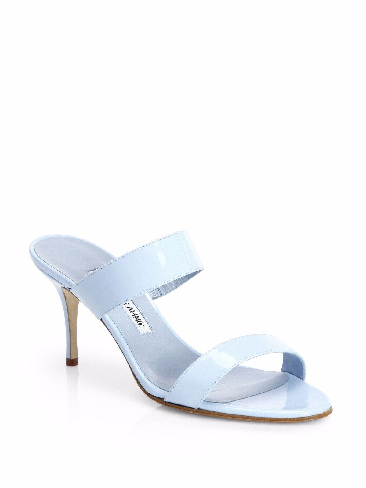 Neu Manolo Blahnik Angufac Hellblau Lackleder Sandalen Rutschen Schuhe 37.5