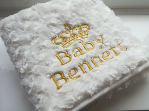 CROWN BEAUTIFUL CREAM WHITE BOY GIRL PERSONALISED EMBROIDERED BABY BLANKET GIFT