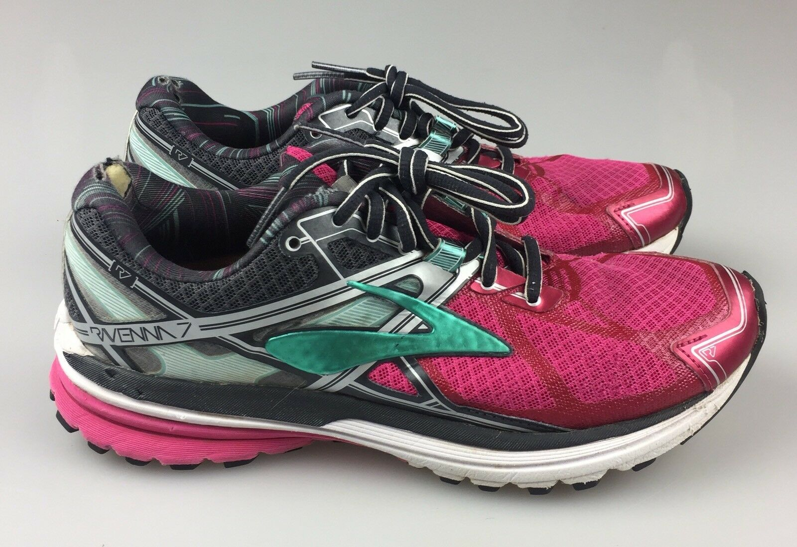 Women's Size Teal 7.5M Brooks Ravenna 7 Running Shoe Gray Teal Size Pink Superfeet Insoles 289cfd