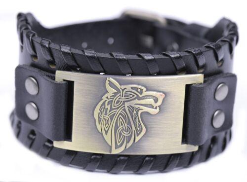 Vintage Norse Fenrir Viking Tête Loup scandinave Amulette métal bracelet simili cuir