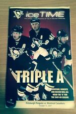 CAREY PRICE NHL DEBUT PROGRAM MONTREAL CANADIENS AT PITTSBURGH PENGUINS 1st WIN