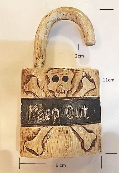 Keep Out Skull & Crossbones Jolly Roger Padlock Door Knob Hanger Sign Pirate
