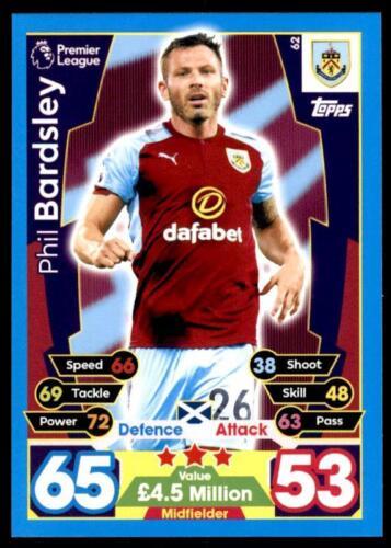 Match Attax 2017-18 Phil Bardsley Burnley no 62