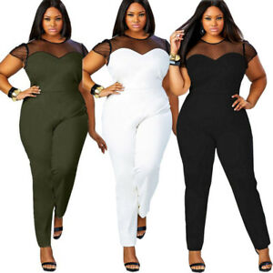 official sale another chance thoughts on Details about Plus Size Women Lady Casual Sexy Net Jumpsuit Rompers  Clubwear Bodycon Trousers