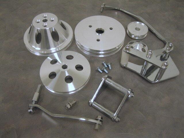 SB Chevy Short Water Pump Pulley Kit Alternator Power Steering Brackets DISPLAY