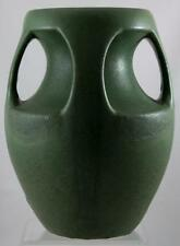 """ROYAL HAEGER 'TECO STYLE' 12"""" BUTTRESSED VASE IN DEEP MATTE GREEN GLAZE MINT"""