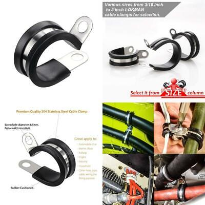 Pipe Clamp 1//4 Inch Rubber Cushioned Metal Clamp Cable Clamp Lokman 12 Pack 1//4 Inch Stainless Steel Cable Clamp