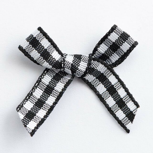 Gingham Ribbon Bow wedding miniature cards 30mm 20 DARK BROWN /& RED
