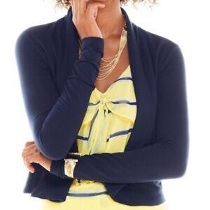 CABI womens size L navy blue open front long sleeved Easy Topper modal blazer