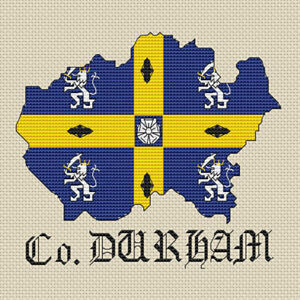 County-Durham-mapa-amp-Bandera-Cross-Stitch-Design-kit-o-el-cuadro