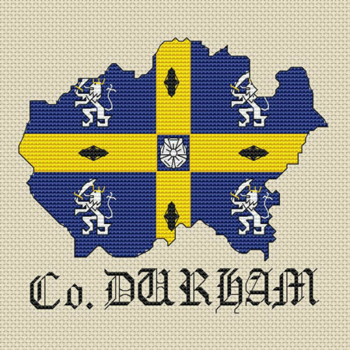 kit or chart County Durham Map /& Flag Cross Stitch Design