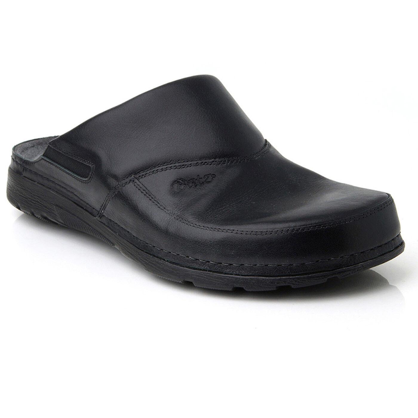 Batz PETER Black Mens Leather Slip On Mules Clogs Sandals shoes Size 7.5-11 UK