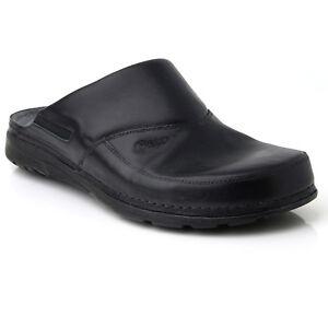 Batz-PETER-Black-Mens-Leather-Slip-On-Mules-Clogs-Sandals-Shoes-Size-7-5-11-UK