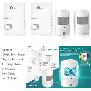 1byone 1000ft Wireless Wall Plug-in Doorbell Driveway Alarm Alert Sensor System