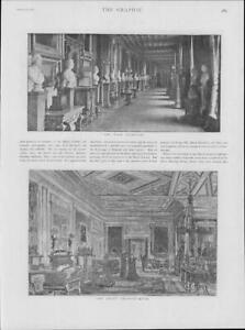 1901-Antique-Print-ROYALTY-Windsor-Castle-East-Corridor-Green-Drawing-Room-231