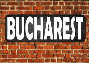 Bucharest Vintage Sign Retro Style Metal Sign Vintage Wall Plaque Room Sign