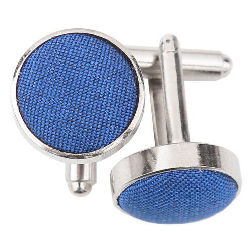 Bleu Royal Homme Mince Cravate Mouchoir Boutons de manchette Solid Plain Chantoung par DQT