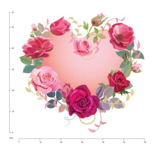 Pinke Rose Herz Wandtattoo WS-50723