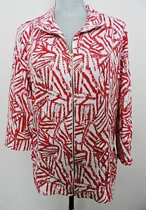 Weekends-by-Chicos-Size-2-Red-White-Zip-Up-Jacket-Lightweight-Stylish-Medium-12