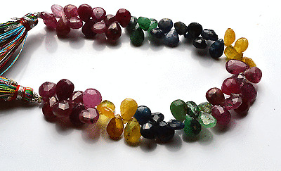 "110.CT 7"" NATURAL EMERALD-RUBY-SAPPHIRE Pear Shape Briolettes BEADS 8 TO 9 MM"