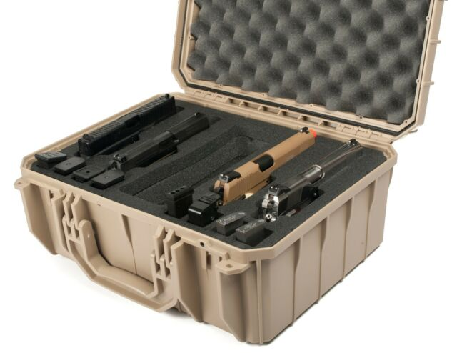 TAN Seahorse SE630FP4 4 Handgun case with custom foam & Metal Keyed locks