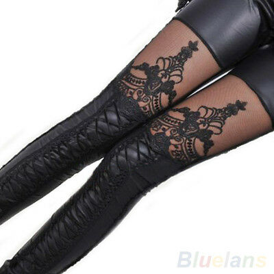New Fashion Charming Chic Women Lace-Up Faux Pu Leather Lace Leggings Vogue B8BU