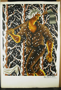 Print-Original-Signed-Jean-Picart-The-Soft-1902-1982-The-Lumberjack-Woodcutter