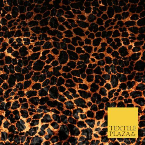 RUST Leopard Cheetah Animal Printed Soft Velvet Dress Fabric Craft Q1299