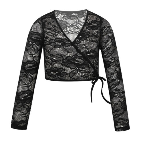 Kids Girls Ballet Dance Dress Wrap Tops Sleeved Crop Top Shrug Cardigan Jacket