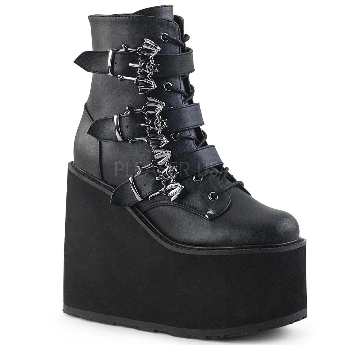 Demonia 5.5  Platform Vegan Wedge Stud Strap Skull Boots Goth Cyber Club 6-12