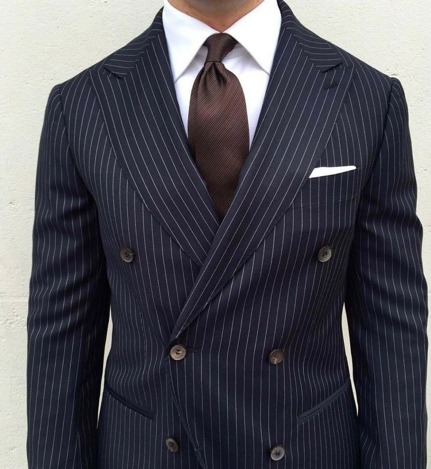 Men Navy bluee Stripes Suits DB Designer Wedding Casual Dinner Suits (Coat+Pant)