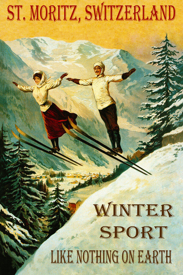 ST. MORITZ SWITZERLAND SKI JUMPING LIKE NOTHING ON EARTH VINTAGE POSTER REPRO